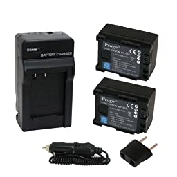 Progo Power Pack (Two Li-Ion Rechargeable Battery and Pocket Travel AC/DC Wall Charger with Car Adapter & US to European plug) for Canon BP-808, BP-809. Works on Canon FS10 FS11 FS100 FS21 FS22 FS200 FS31 FS300, VIXIA HF10 HF11 HF100 HF20 HF200 HF S10 S10