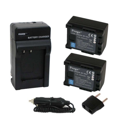 - Progo Power Pack (Two Li-Ion Rechargeable Battery and Pocket Travel AC/DC Wall Charger with Car Adapter & US to European plug) for Canon BP-808, BP-809. Works on Canon FS10 FS11 FS100 FS21 FS22 FS200 FS31 FS300, VIXIA HF10 HF11 HF100 HF20 HF200 HF S10 S100 S20 S21 S200 HG20 HG21 HG30 G10 M30 M31 M300 M30 M31 M32 M40 M41 M400 XA10 and more.