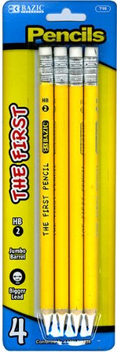 The First Jumbo Premium Yellow Pencil #2 - 4/Pack [144 Pieces] - Product Description - Bazic-The First Jumbo Premium Yellow Pencil #2 (4/Pack). Eraser Top On These Pencils For Convenience At School Jumbo Barrel Design Pencils Are Suitable For Be ...
