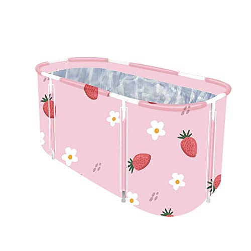 Foldable Bathtub Portable Soaking Bath Tub,Eco-Friendly Bathing Tub for Shower Stall,Thickening with Thermal Foam to Keep Temperature (XL Strawberry)