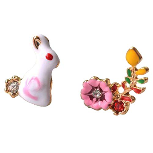 Wholesale Flower Dutch (Fashion Clip on Earrings for Girls Women Enamel Lovely Bunny Dutch Rabbit Dangle Earrings Screw Back)