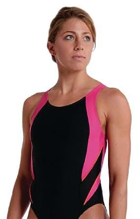 blueseventy Women's Eclipse Swimsuit (Black/Pink/Orange, 22)