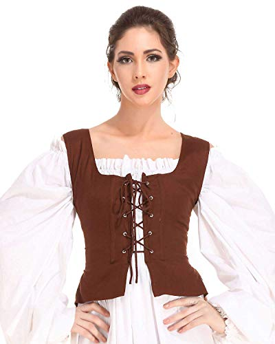 Pirate Wench Peasant Renaissance Medieval Costume Corset Bodice (Large, Chocolate) - Pirate Bodice