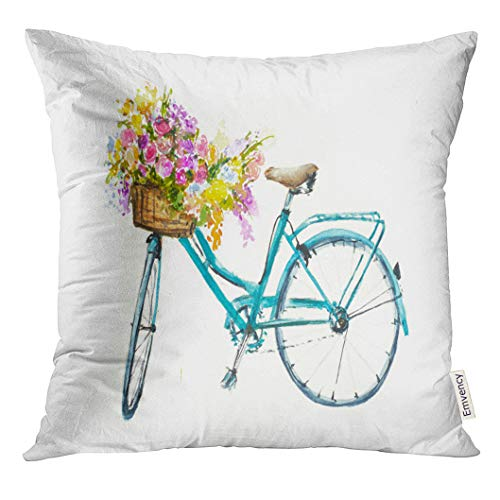 Emvency Throw Pillow Cover Bike Retro Blue Bicycle with Flowers in Basket on White Isolation Watercolor Vintage Decorative Pillow Case Home Decor Square 16x16 Inches Pillowcase