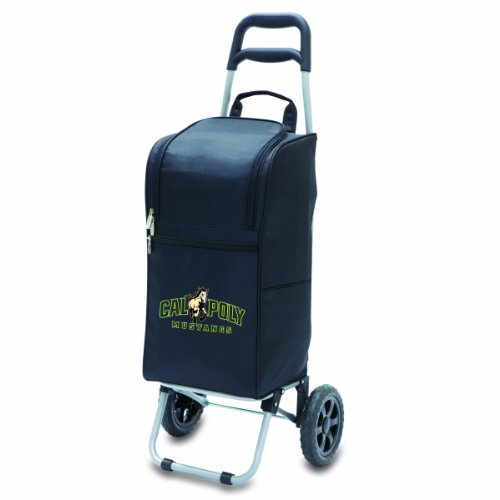 (NCAA Cal Poly Mustangs Insulated Cart Cooler with Wheeled Trolley, Black)