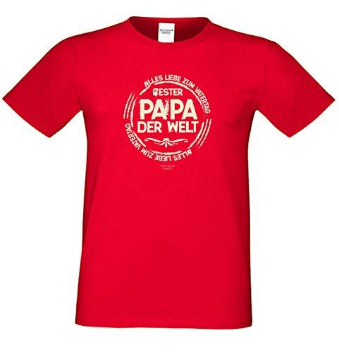 T-Shirt - Bester Papa der Welt - Alles Liebe zum Vatertag Rot - lustiges Sprüche Shirt für Väter mit Humor - Geschenk Set zum Vatertag