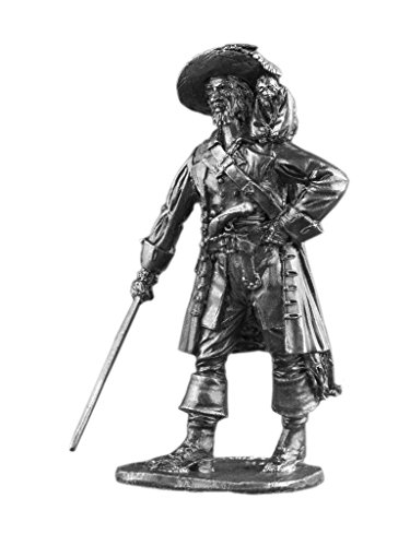 Pirate Captain Barbossa UnPainted Tin Metal 54mm Action Figures Toy Soldiers Size 1/32 Scale for Home Décor Accents Collectible Figurines ITEM #Na-04]()