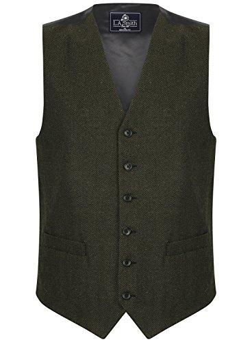 (LA Smith Men's Herringbone Tweed Wool Blend Waistcoat, Green (XXL))