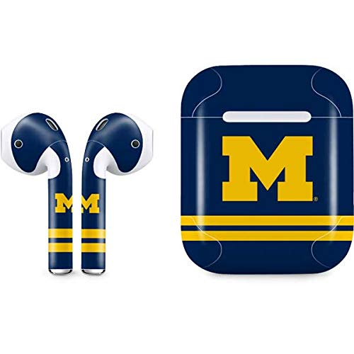 Skinit Michigan Logo Striped Apple AirPods Skin - Officially Licensed College Audio Sticker - Thin, Case Decal Protective Wrap for Apple AirPods Gen 1
