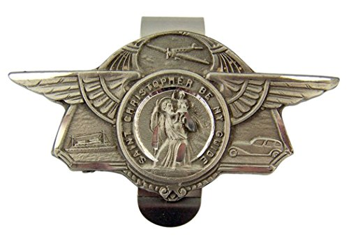 Pewter Saint Christopher Be My Guide Boat Plane Car Visor Clip, 2 7/8 Inch (Pewter Plane)