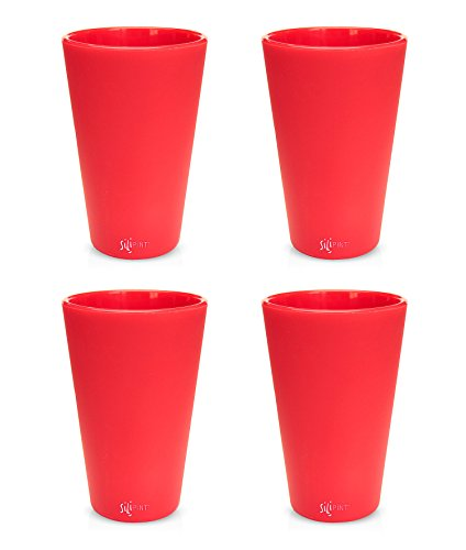 SILIPINT Silicone Pint Glasses, The Unbreakable Silicone Pint Glass, Patented Glass for Beer and Wine and More, Drinkware That is Heat Safe and Freezer Safe, 16-Ounce (Set of 4) - Ricochet Red