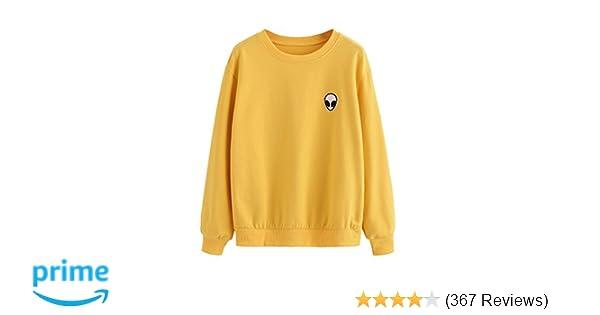 b10093770 SweatyRocks Womens Casual Long Sleeve Pullover Sweatshirt Alien ...
