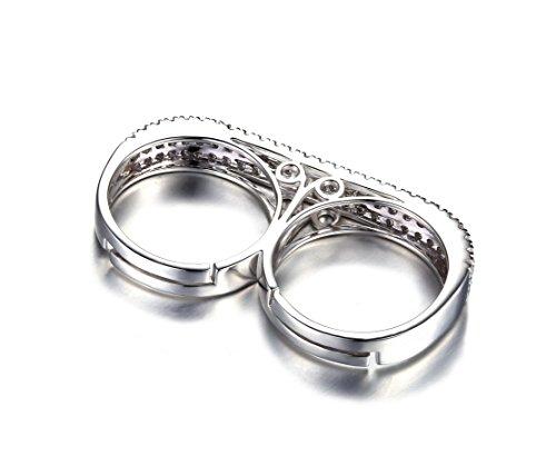 JewelryPalace 1.31ct Originale Bague Femme Fille 2 Doigts en Argent Sterling 925 en Zircon Cubique de Synthèse CZ Taille 59.5