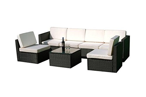 MCombo 6085-S1007 7 Piece Wicker Patio Sectional Indoor Outdoor Sofa Furniture Set, Black (Indoor Wicker Sectional)