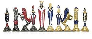 Italfama Renaissance Hand-Painted Metal Chess Pieces
