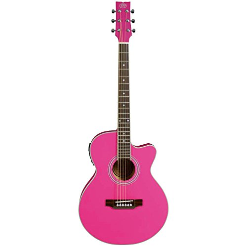 JB Player JBEA15PK Acoustic Electric Guitar, Pink (Jb Player Acoustic Electric Guitar)