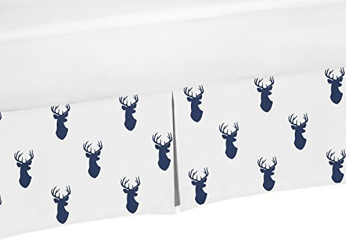 Sweet Jojo Designs Navy Blue and White Crib Bed Skirt Dust Ruffle for Boys Woodland Deer Collection Baby Bedding Sets