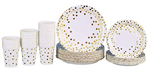 Gold Dot Disposable Paper Plates with Cups Set 150 PCS - Elegant paper Cups, Dinner and Dessert Plates for Bridal Shower, Baby Shower, Wedding, Anniversary, Birthday Any Party supplies for 50 Guest!!