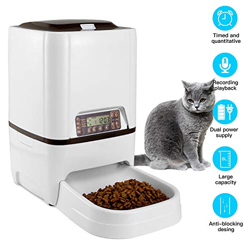 - LuckinPET 6 L Pet Feeder,Automatic Cat Feeder   Timed Programmable Auto Pet Dog Food Dispenser Feeder for Kitten Puppy - Portion Control Up to 4 Meals/Day,Voice Recording,Battery and Plug-in Power