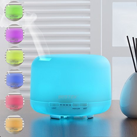 BESTEK 500ml Oil Diffuser Cool Mist Humidifier Ultrasonic Aroma Diffuser with 7 Colors Changing LED Night Lamp and Waterless Auto Shut-off Function