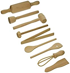 Fox Run 4932 Kids Cooking/Baking Tools Set, Wood, 9-Piece