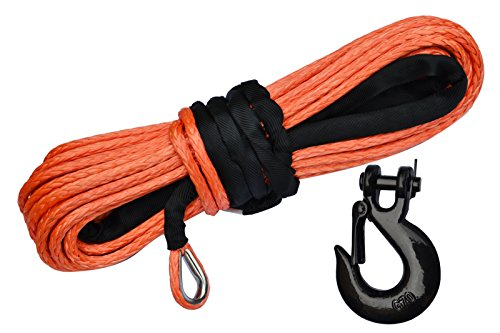 X-BULL SK75 3/8 x 100ft Dyneema Synthetic Winch Rope with Hook Car Tow Recovery Cable(23,809 Lbs) (Winch Rope Line Synthetic)