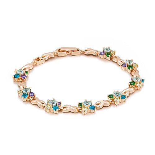 Romantic Time Multi-Diamond Stone Flowers 18k Rose Gold Plated Figure8 Link Bracelet