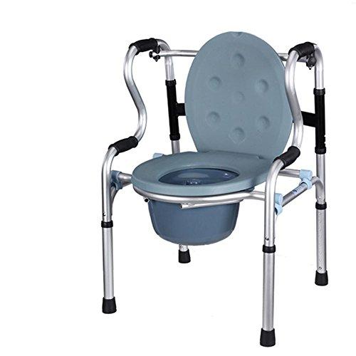 LUCKYYAN Elderly Folding Lightweight Walking Chair Aluminium Commode Chair Bathroom Toilet Seat Disability Mobility Aid