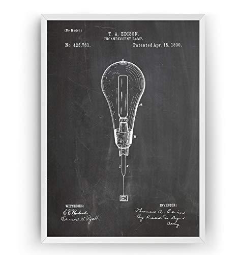 Thomas Edison Incandescent light bulb 1890 Patent Print - Vintage Art Posters Gifts For Men Women Blueprint Decor - Frame Not Included