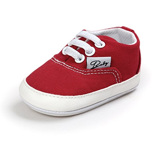 Itaar Baby Canvas Sneakers Non-slip Rubber Sole Slip-on Shoes with Elastic Lace for Infant Toddler Boys and Girls First Walking Canvas Slip Shoes