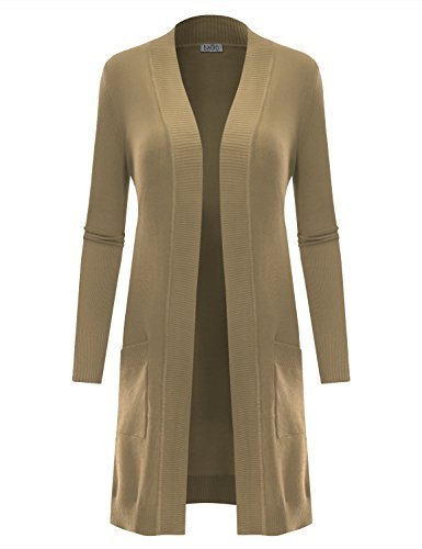 BIADANI Women's Long Sleeve Duster Cardigan Sweater Khaki Small