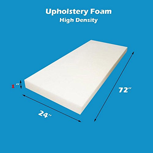 "Mybecca Upholstery Foam 1"" x 24"" x 72"" High Density Cushion -  H1-24-72"