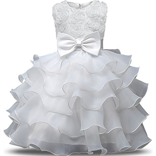 NNJXD Girl Dress Kids Ruffles Lace Party Wedding Dresses Size (150) 7-8 Years Flower White ()