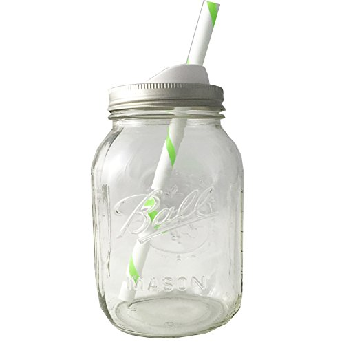 Mason Drinking Jar with Straw and Sip Lid 32oz (green)