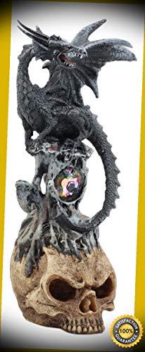 Marine Dwarf (KARPP Azureon Black Dragon Perching On Quartz Tower Alien Skull Statue Home Decor Perfect Indoor Collectible Figurines)