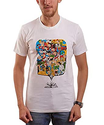Nas Trends White Cotton Round Neck T-Shirt For Men