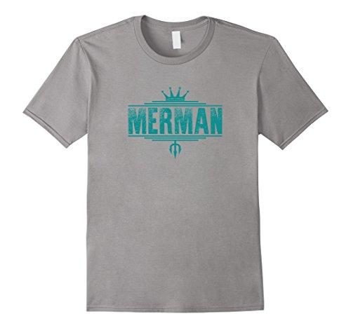 Mermaid Merman Costume (Mens Merman - Easy Men's Halloween Costume - Mermaid Shirt Medium Slate)