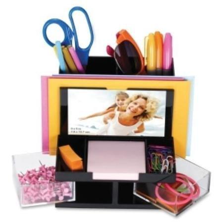 Oic Versaplus Functional Desk Organizer - Desktop - 5.5 Height X 6.2 Width X 6.3 Depth - 9 Compartment[s] - Plastic - Black Clear (oic-23112) WLM