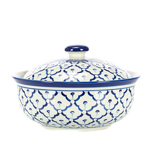 (Covered Large Round Glossy Blue and White 7 x 7 Porcelain Ceramic Casserole)
