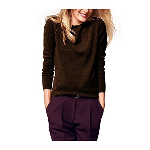 100% Cashmere Crew Neck Sweater Color Chocolate Size XL ()