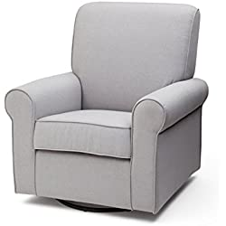 Delta Children Avery Upholstered Glider Swivel Rocker Chair, Heather Grey