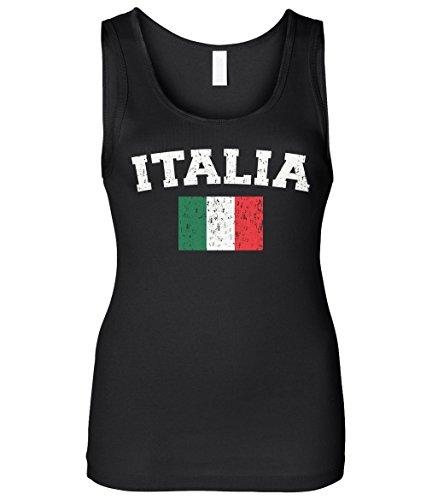 Cybertela Women's Faded Distressed Italia Flag Slim Fit Tank Top (Black, (Distressed Womens Tank Top)