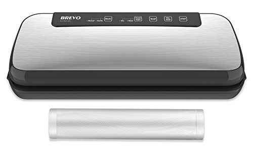 BREVO Fully-Automatic PRO Vacuum Sealer Machine with Moist & Gentle Modes Perfect Sealing Preservation for Fresh, Crispy Foods, Works with Vacuum Container, Roll Bags, Starter Kit Included