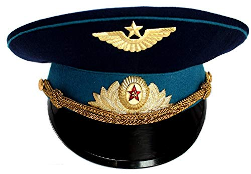 ORIGINAL Soviet USSR Air Force Officer Cap/ Hat 1980th with Original Cap Badges ()