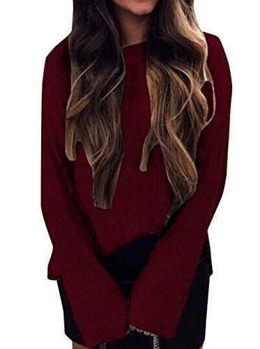 Rond Fashion Tees et Blouse Manches Monika Automne Pulls Shirts Jumpers Unie T Hauts Couleur Tops Shirts Casual Femmes Sweat Printemps Redwine Longues Col 6pTw5q0