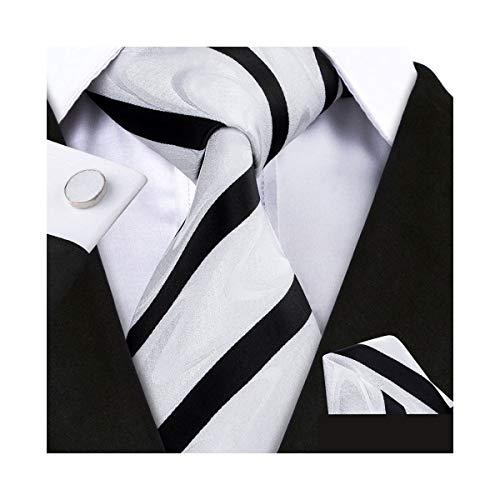 (YOHOWA Mens White Black Silk Tie Pocket Square Stripe Necktie Cufflinks)