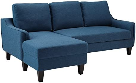 Signature Design by Ashley – Jarreau Mid-Century Upholstered Sofa Chaise Sleeper, Blue
