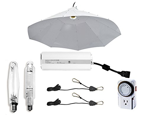 Hydro Crunch 1000W Grow Light Digital Dimmable HPS MH System for Plants with Parabolic Vertical Reflector Hood by Hydro Crunch