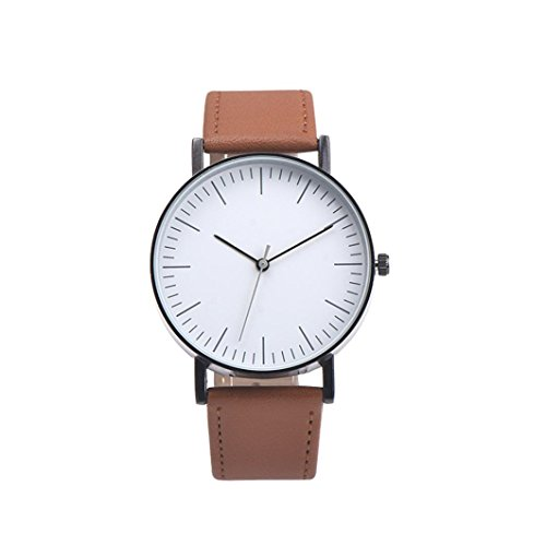 (Napoo Men's Vintage Design Leather Band Analog Alloy Quartz Wrist Watch Big Dial (Brown))