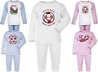 Hat-Trick Designs Aston Villa Football Baby Pyjamas set PJs Nightwear//Sleepwear-Me /& My-Unisex Gift